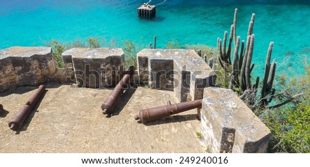 Fort Beekenberg - Curacao a tropical island in the Caribbean Ocean - stock photo