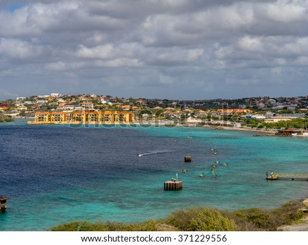 Fort Beekenburg  and kayakers - Views around Curacao a Caribbean Island