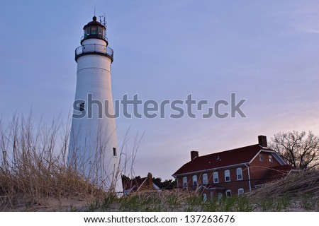 Fort Gratiot Lighthouse and Keepers Station Port Huron, Michigan. - stock photo