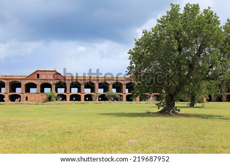 Fort Jefferson in Dry Tortugas National Park, Florida, features a large inner courtyard. - stock photo