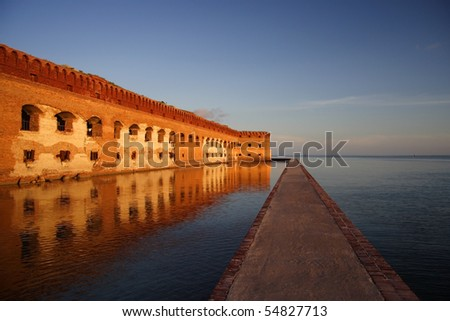 Fort Jefferson Moat, Dry Tortugas National Park, Florida Keys - stock photo