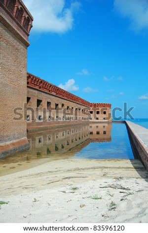 fort jefferson walls and moat, dry tortugas, florida - stock photo