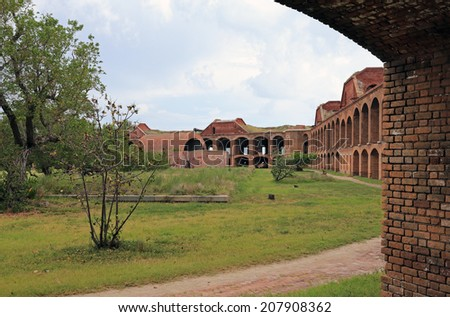 Fort Jefferson was built in the Dry Tortugas to protect the United States' southeastern seaboard - stock photo