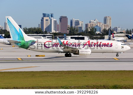 FORT LAUDERDALE, FL - FEBRUARY 17:  A Caribbean Airlines Boeing 737-800 taxis on February 17, 2016 in Fort Lauderdale, FL. Caribbean Airlines is the flag carrier airline of Trinidad and Tobago. - stock photo