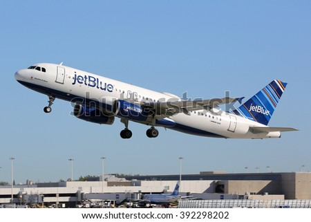 FORT LAUDERDALE, FL - FEBRUARY 17:  A Jetblue Airbus A320 taking off on February 17, 2016 in Fort Lauderdale, FL. Jetblue is an American low-cost airline with its headquarters in New York. - stock photo