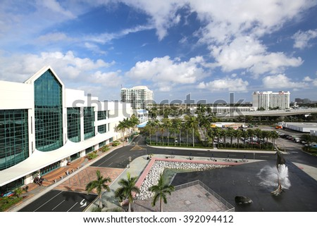 FORT LAUDERDALE, FL, USA - March 11, 2016:  Aerial view of the Fort Lauderdale Convention Center, adjacent to the Intracoastal Waterway and the E. Clay Shaw Drawbridge.    - stock photo