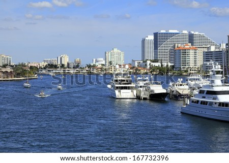 FORT LAUDERDALE, FLORIDA - FEBRUARY 3: Lots of boats and watercraft on the Intracoastal waterway north of Las Olas Boulevard on a very sunny winter day on February 3, 2013 in Ft Lauderdale, Florida.