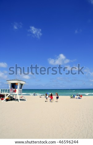 Fort Lauderdale Florida lifeguard beach house blue sky - stock photo