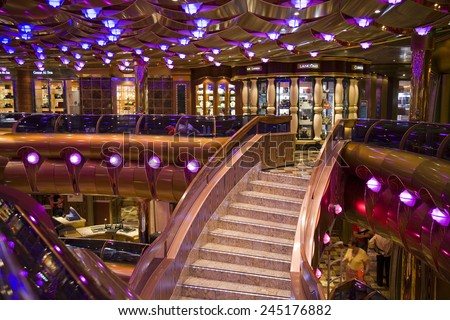 FORT LAUDERDALE, FLORIDA-MARCH 22:  The interior lobby on the Carnival Freedom cruise ship is ready for tourists on its Caribbean cruise departing March 22, 2009 from Ft. Lauderdale. - stock photo