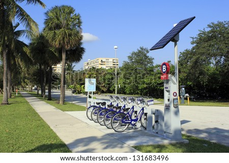 FORT LAUDERDALE, FLORIDA - OCTOBER 28: There are 275 Broward B-cycle bicycles for rent at 39 public kiosks in Broward county. This kiosk is located on October 28, 2012 in Fort Lauderdale, Florida. - stock photo