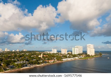 Fort Lauderdale skyline, Florida USA - stock photo