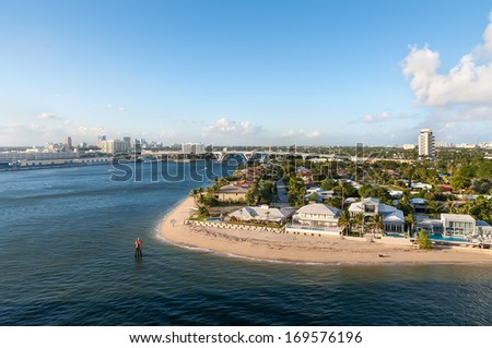 Fort Lauderdale skyline seen from the channel, Florida USA - stock photo