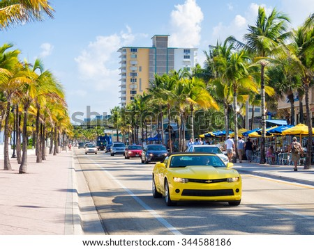 FORT LAUDERDALE,USA - AUGUST 11,2015 : Fort Lauderdale beach in Florida on a summer day - stock photo