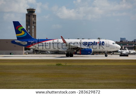 FORT LAUDERDALE, USA - JUNE 2, 2015: A Spirit Airlines Airbus A320 taxiing at the Ft. Lauderdale/Hollywood International Airport, FL. Spirit Airlines has its operating base in Fort Lauderdale. - stock photo