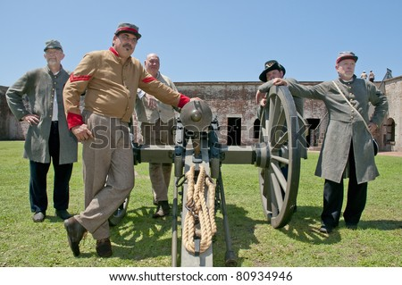 FORT MACON, NC - JULY 10: Members of the 1st NC Volunteers and 11th NC Troops at a Civil War reenactment at Fort Macon State Park on July 10th, 2011 in Fort Macon, NC