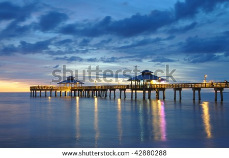 Fort Myers Pier at Sunset, Florida USA - stock photo
