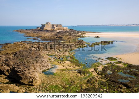 Fort National and beach from Saint Malo, during low tide. Brittany, France - stock photo