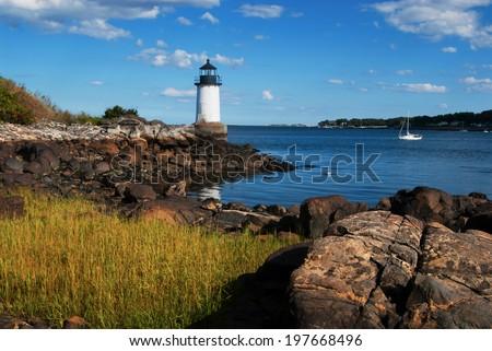 Fort Pickering (Winter Island) lighthouse in Salem, Massachusetts. - stock photo