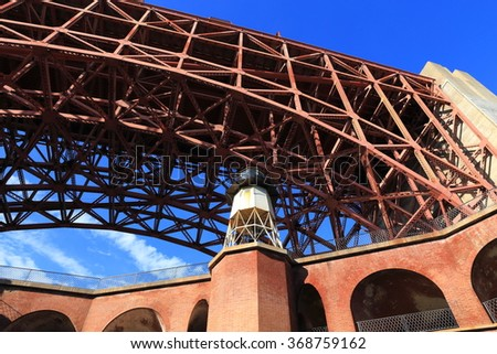 Fort Point and its lighthouse sit beneath one end of the Golden Gate Bridge in San Francisco, California. - stock photo