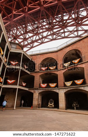 Fort Point is located at the southern side of the Golden Gate at the entrance to San Francisco Bay. - stock photo