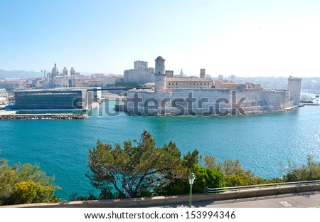 Fort Saint-Jean is linked by two thin bridges to the historical district Le Panier and to the first French national museum called The Museum of Civilisations from Europe and Mediterranean, Marseille. - stock photo