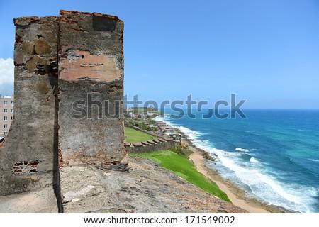 Fort San Cristobal overlooking beach in San Juan Puerto Rico - stock photo