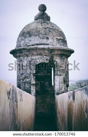 Fort San Felipe del Morro sentry box, Puerto Rico - stock photo