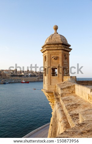 Fort St. Michael and panorama of Valletta and Malta Grand harbor