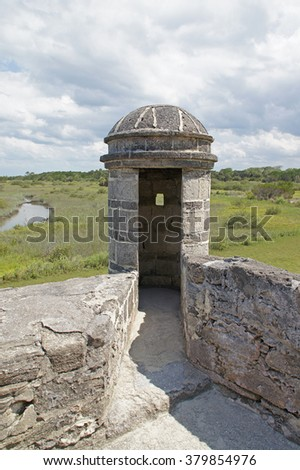 Fort turret at Florida river                       - stock photo