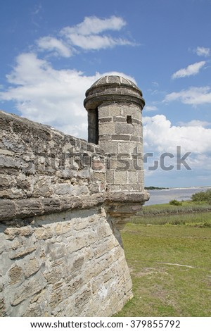 Fort turret at Florida river fort south of St Augustine                      - stock photo
