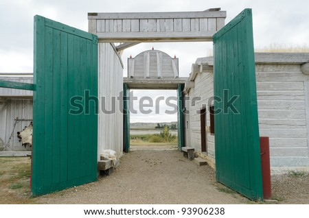 Fort Union Trading Post National Historic Site entrance gates - stock photo