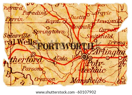Fort Worth, Texas on an old torn map from 1949, isolated. Part of the old map series. - stock photo