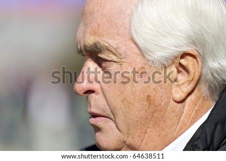 FORT WORTH, TX - NOV 06:  Team owner, Roger Penske, walks down pit road before a practice session for the AAA Texas 500 race on NOV 6, 2010 at the Texas Motor Speedway in Fort Worth, TX.