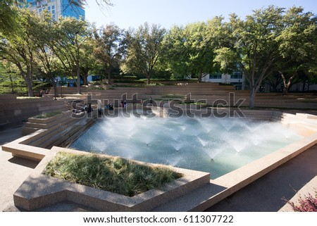 Fort Worth, USA on 25 MARCH 2017:  Fort Worth Water Gardens, TX,located on the south end of downtown Fort Worth between Houston and Commerce Streets.