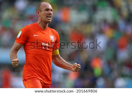 FORTALEZA, BRAZIL - JUNE 29, 2014: Robben of the Netherlands celebrate during the World Cup Round of 16 game between the Netherlands and Mexico in the Castelao stadium. NO USE IN BRAZIL. - stock photo