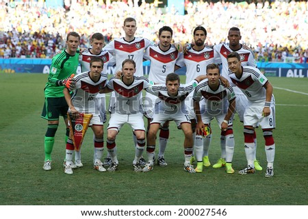 FORTALEZA, BRAZIL - June 21, 2014: Team Germany poses for a photo before the World Cup Group G game between Germany and Ghana at Estadio Castelao. No Use in Brazil.  - stock photo