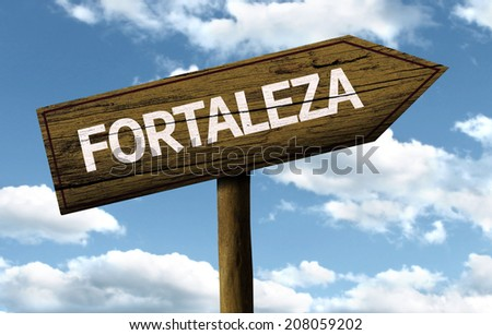 Fortaleza, Brazil wooden sign on a beautiful day - stock photo