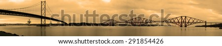 Forth Bridges Panorama at Dusk - stock photo