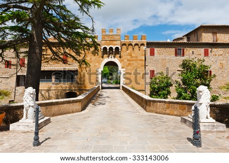 Fortification Wall Surrounding the Medieval Italian City of Montorio - stock photo