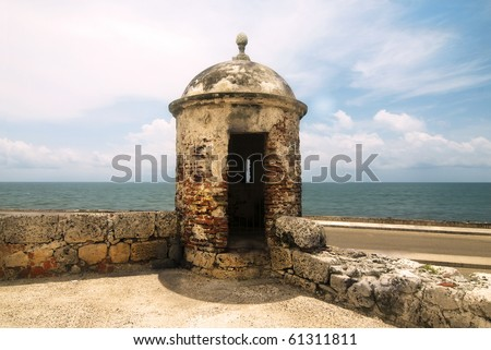 Fortification Watch Tower by the Sea - stock photo