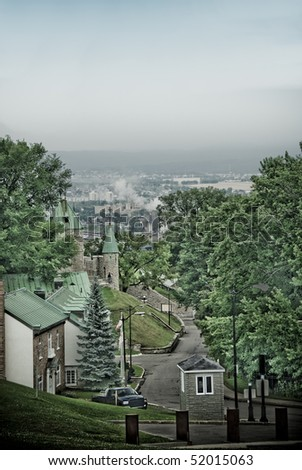 fortifications of La Citadelle, barracks and city of  Quebec in background,  Canada - special effects picture - stock photo