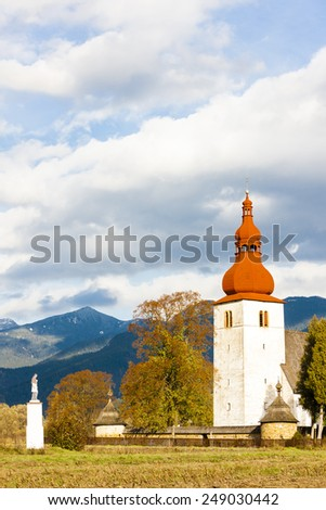 fortified church in Liptovske Matiasovce, Slovakia - stock photo