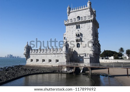 Fortified tower located in Santa Maria de Belem Lisbon - stock photo