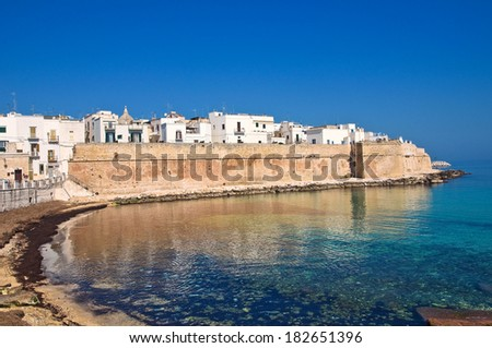 Fortified wall. Monopoli. Puglia. Italy. - stock photo