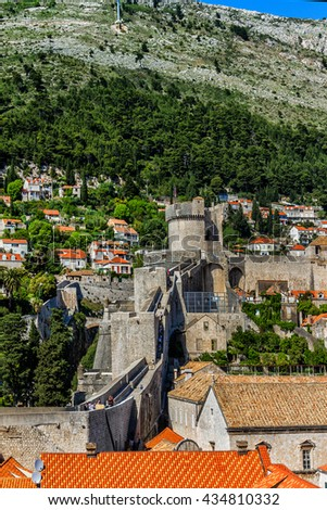 Fortified wall of medieval town Dubrovnik. Dubrovnik - UNESCO World Heritage Site. Croatia. - stock photo