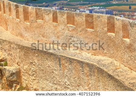 Fortified wall of the Castle of Xativa, Valencia, Spain