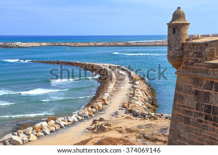 Fortified walls of the Kasbah of the Udayas above the Bou Regreg river and Atlantic ocean in Rabat, Morocco - stock photo