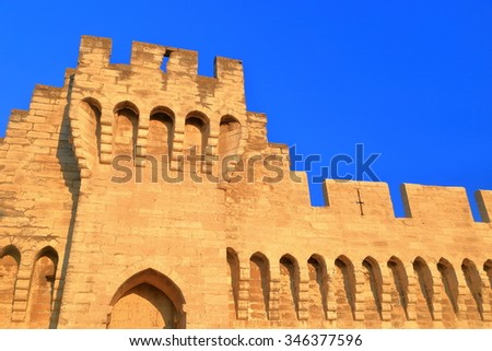 Fortified walls of the old town of Avignon, Provence, France - stock photo