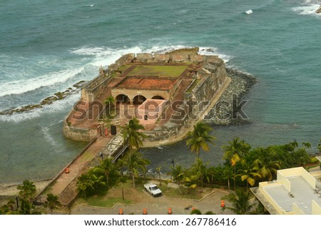 Fortin de San Geronimo de Boqueron (Fort San Geronimo) aerial view, San Juan, Puerto Rico. San Geronimo de Boqueron is a small fort located in the mouth of the Condado Lagoon. - stock photo