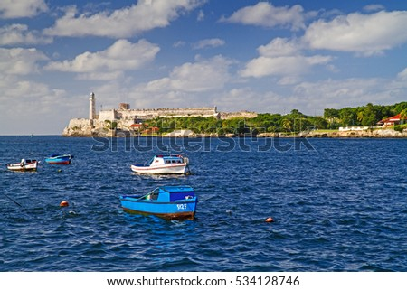 fortress and boats in havana, cuba